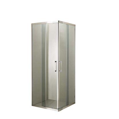 Immagine di Box doccia Giulia, profilo cromo lucido, cristallo fumè, spessore 4 mm, maniglia cromata, 69/79x89/99x185 cm