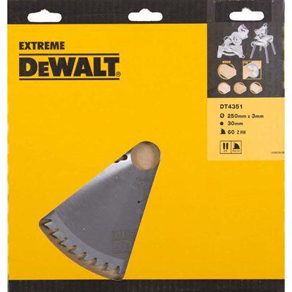 Immagine di Lama DeWalt, per sega circolare, 60 denti, forma dente TGC con angolo -5°, spes.3,0 mm, foro lama Ø 30 mm, lama Ø 250 mm