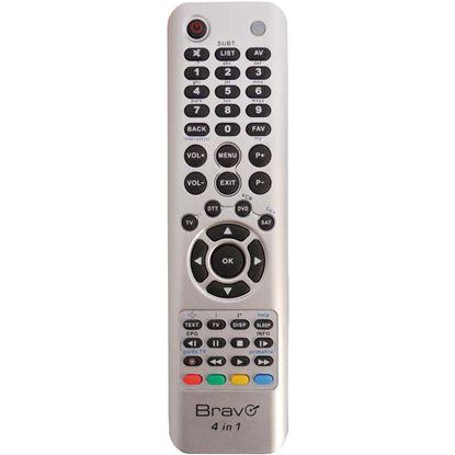 Immagine di Telecomando universale 4 in 1, per 4 apparecchi differenti, tv ddt, sat, dvd, vcs Sky, colore silver