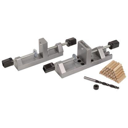 Immagine di Dispositivo per spinatura professionale, x spine Ø 6/8/10 mm, punta legno Ø 8 mm, arresto prof., 40 spine legno Ø 8 mm