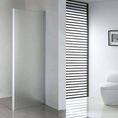 Immagine di Lato fisso per porte, profilo bianco, cristallo piumato, spessore 6 mm, 70x195 cm